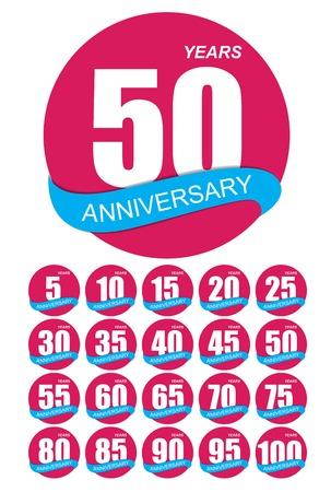 commemoration: Template Logo Anniversary Set Vector Illustration EPS10
