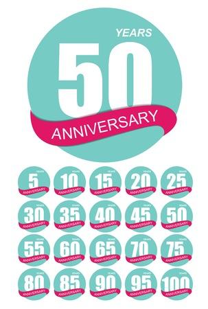 80 90: Template Logo Anniversary Set Vector Illustration EPS10