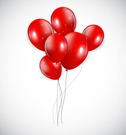 Set of Red Balloons, Vector Illustration. EPS10 Illustration