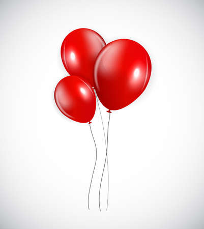 red balloons: Set of Red Balloons, Vector Illustration. EPS10 Illustration