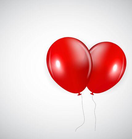red balloons: Set of Red Balloons, Vector Illustration. EPS10 Illustration