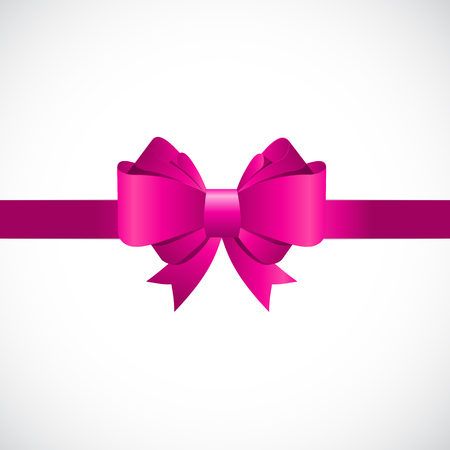 pink bow: Gift Card with Pink Bow and Ribbon Vector Illustration EPS10