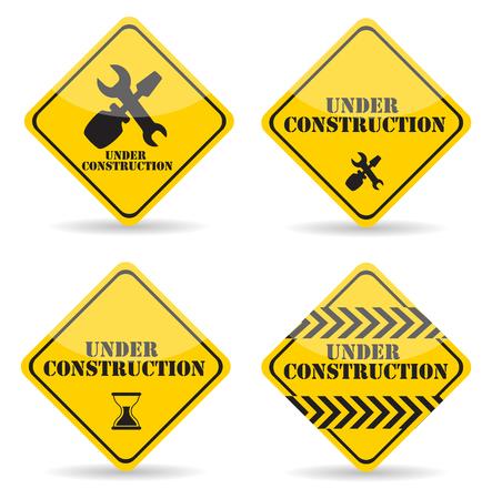 tractor warning sign: Under Construction Sign Set. Vector Illustration Eps10