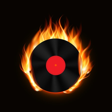 Abstract Music Background with Fire Vector Illustration for Your Design