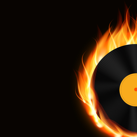 disk jockey: Abstract Music Background with Fire Vector Illustration for Your Design Illustration