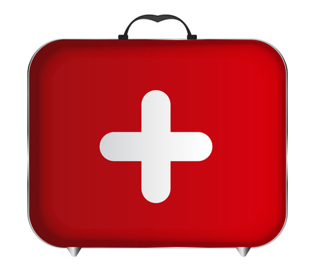 Red Medical Bag with a Cross Vector Illustration