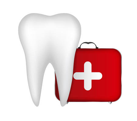 cartoon medical: Tooth and Red Medical Bag with a Cross Vector Illustration EPS10 Illustration