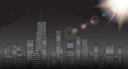 standout: Business city in background of sunset. Vector Illustration EPS10