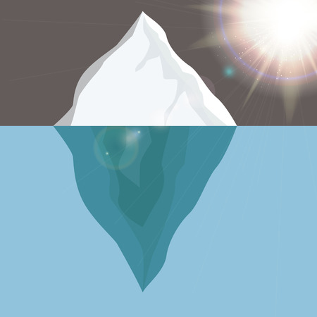 polar climate: Cold Iceberg in Ocean Under Sun Shine. Vector Illustration. EPS10 Illustration