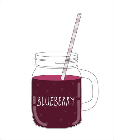 old fashioned vegetables: Fresh Blueberry Smoothie. Healthy Food. Vector Illustration EPS10 Illustration