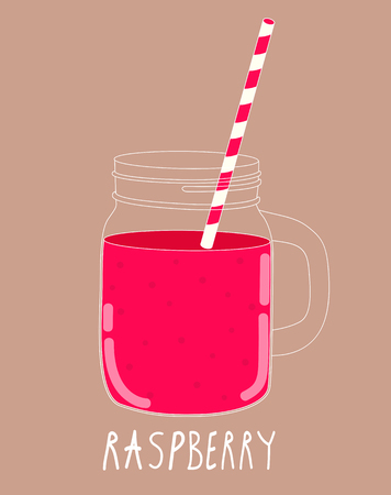 old fashioned vegetables: Fresh Raspberry Smoothie. Healthy Food. Vector Illustration EPS10 Illustration