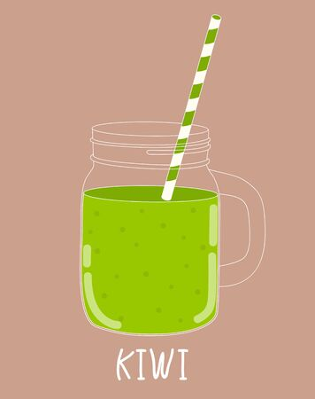 mixed drink: Fresh Kiwi Smoothie. Healthy Food. Vector Illustration EPS10