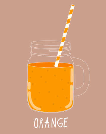 old fashioned vegetables: Fresh Orange Smoothie. Healthy Food. Vector Illustration EPS10