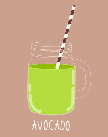 old fashioned vegetables: Fresh Avocado Smoothie. Healthy Food. Vector Illustration EPS10