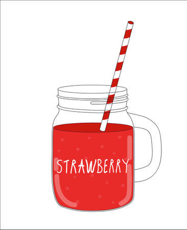 old fashioned vegetables: Fresh Strawberry Smoothie. Healthy Food. Vector Illustration EPS10