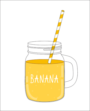 old fashioned vegetables: Fresh Banana Smoothie. Healthy Food. Vector Illustration EPS10 Illustration