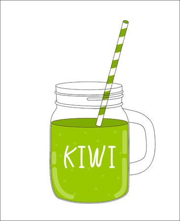 old fashioned vegetables: Fresh Kiwi Smoothie. Healthy Food. Vector Illustration EPS10