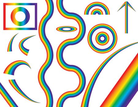 different shapes: Natural Rainbow of Different Shapes. Vector Illustration. EPS10