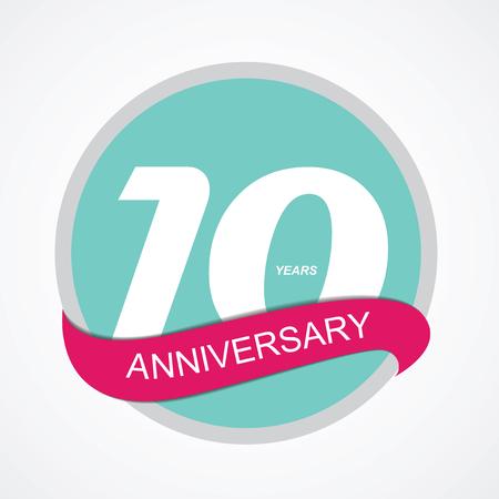 ten years jubilee: Template Logo 10 Anniversary Vector Illustration EPS10