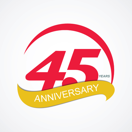 Template Logo 45 Anniversary Vector Illustration EPS10 Ilustração