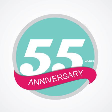 selebration: Template Logo 55 Anniversary Vector Illustration EPS10