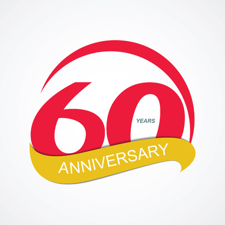 commemoration: Template Logo 60 Anniversary Vector Illustration EPS10 Illustration
