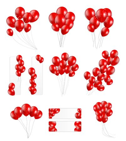 red balloons: Big Set of Red Balloons, Vector Illustration. EPS10