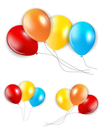 colored balloons: Set of Colored Balloons, Isolated Illustration. EPS10