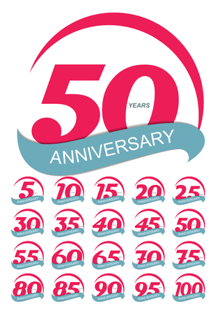 50 years jubilee: Template Logo Anniversary Set Vector Illustration EPS10