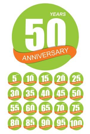 ten years jubilee: Template Logo Anniversary Set Vector Illustration EPS10