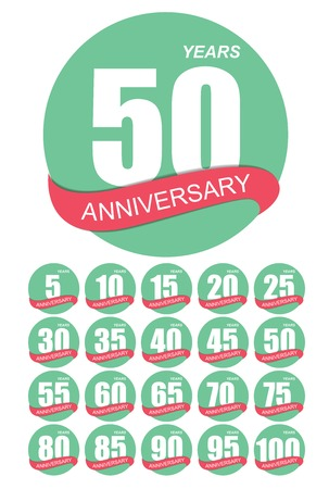 50 to 60 years: Template Logo Anniversary Set Vector Illustration EPS10