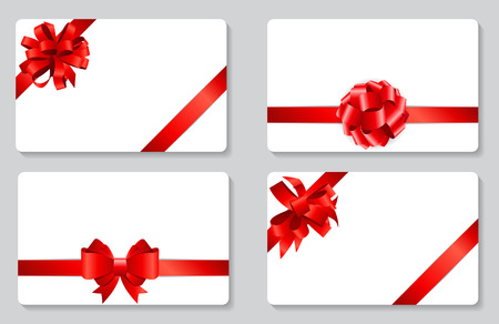 birthday presents: Gift Card with Red Bow and Ribbon Set Vector Illustration EPS10 Illustration