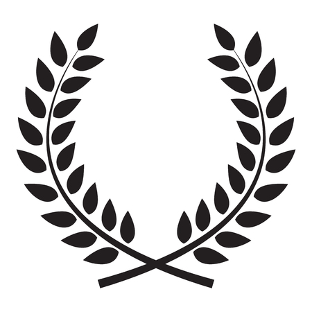 branch silhouette: Award Laurel Wreath. Winner Leaf label,  Symbol of Victory. Vector Illustration EPS10 Illustration