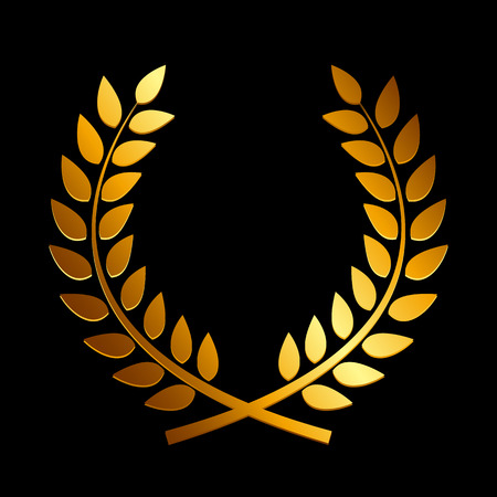 laurel leaf: Gold Award Laurel Wreath. Winner Leaf label,  Symbol of Victory. Vector Illustration EPS10