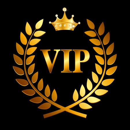laurel leaf: Gold Award Laurel Wreath with Crown and VIP Label. Winner Leaf Symbol of Victory. Vector Illustration EPS10