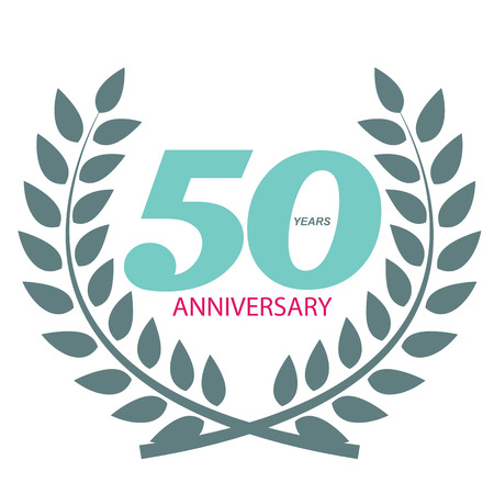 selebration: Template Logo 50 Anniversary in Laurel Wreath Vector Illustration EPS10 Illustration
