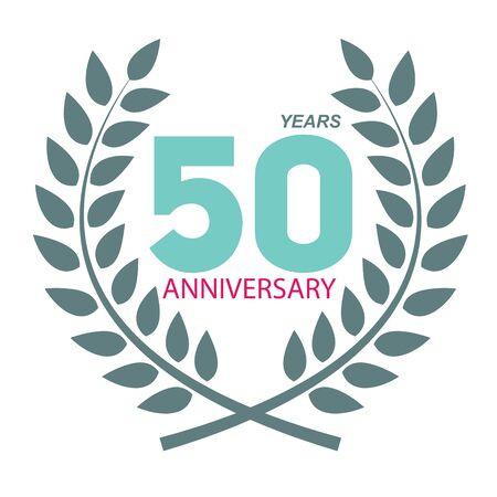 selebration: Template Logo 50 Anniversary in Laurel Wreath Vector Illustration EPS10 Illustration