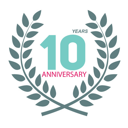 selebration: Template Logo 10 Anniversary in Laurel Wreath Vector Illustration EPS10