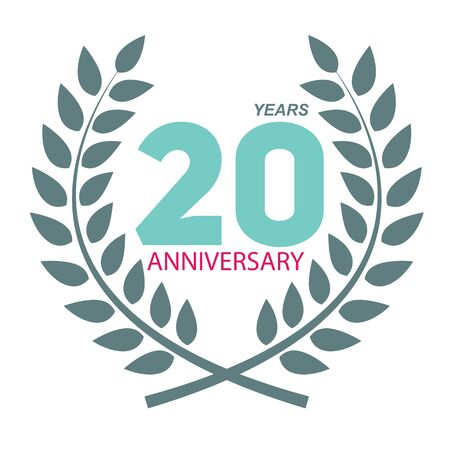selebration: Template Logo 20 Anniversary in Laurel Wreath Vector Illustration EPS10