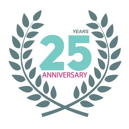 Template Logo 25 Anniversary In Laurel Wreath Vector Illustration ...