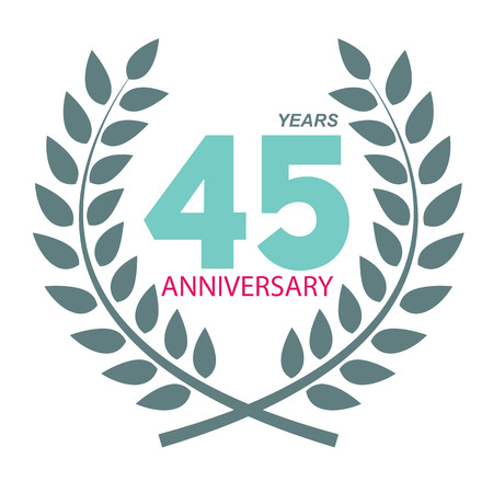 selebration: Template Logo 45 Anniversary in Laurel Wreath Vector Illustration EPS10