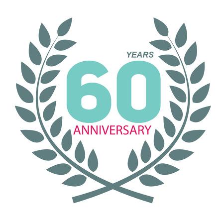 Template Logo 60 Anniversary In Laurel Wreath Vector Illustration ...