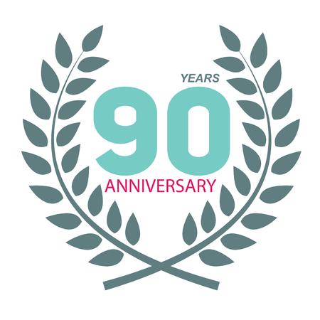 selebration: Template Logo 90 Anniversary in Laurel Wreath Vector Illustration EPS10 Illustration