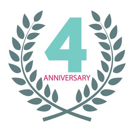Template Logo 4 Anniversary In Laurel Wreath Vector Illustration ...