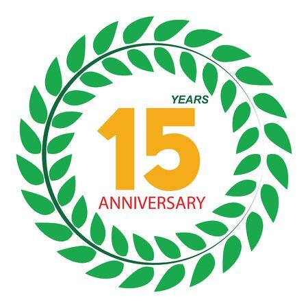 selebration: Template Logo 15 Anniversary in Laurel Wreath Vector Illustration EPS10