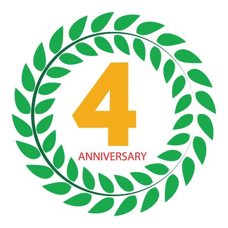 selebration: Template Logo 4 Anniversary in Laurel Wreath Vector Illustration EPS10