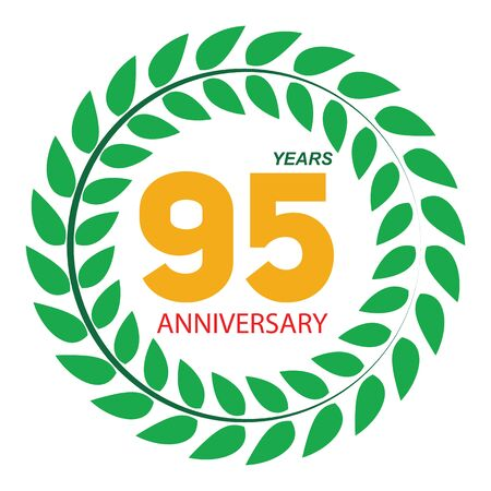 remembered: Template Logo 95 Anniversary in Laurel Wreath Vector Illustration EPS10 Illustration