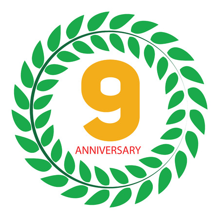 selebration: Template Logo 9 Anniversary in Laurel Wreath Vector Illustration EPS10 Illustration