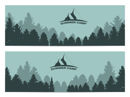 forest trees: Summer Camp. Image of Nature. Tree Silhouette. Vector Illustration EPS10 Illustration