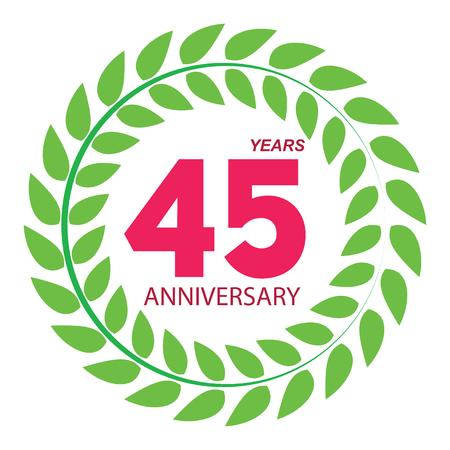selebration: Template Logo 45 Anniversary in Laurel Wreath Vector Illustration EPS10